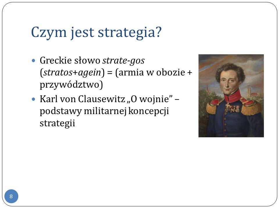 Czym jest strategia Greckie słowo strate-gos (stratos+agein) = (armia w obozie + przywództwo)