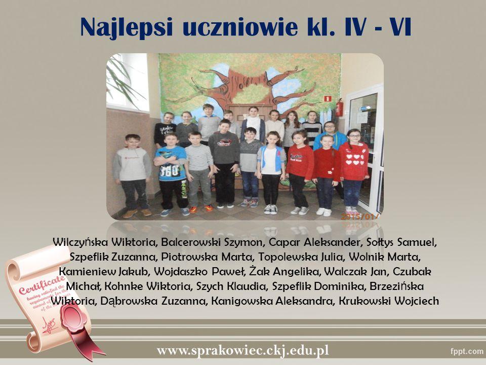 Najlepsi uczniowie kl. IV - VI