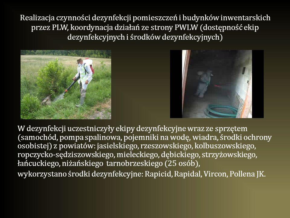 Realizacja czynności dezynfekcji pomieszczeń i budynków inwentarskich przez PLW, koordynacja działań ze strony PWLW (dostępność ekip dezynfekcyjnych i środków dezynfekcyjnych)