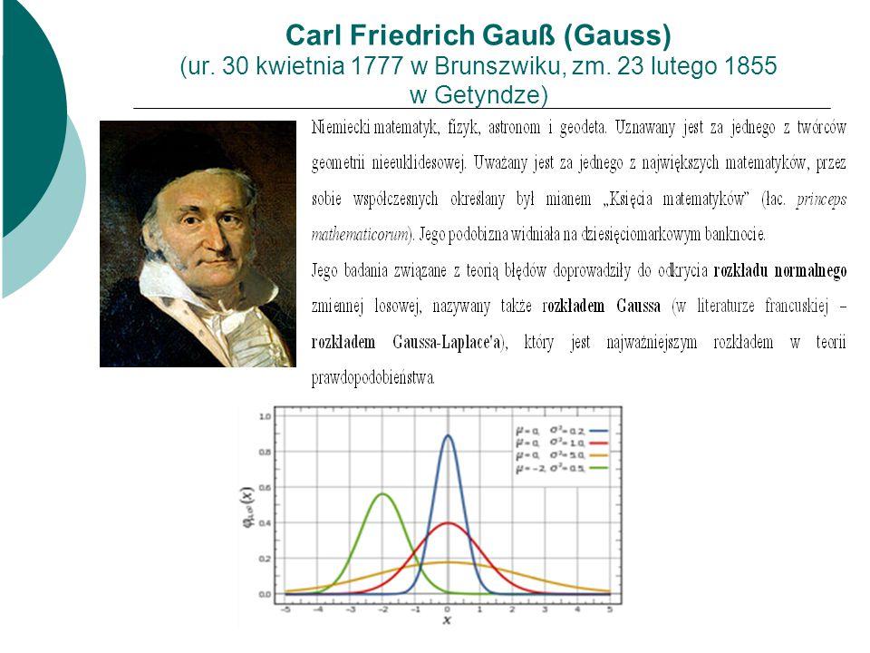 Carl Friedrich Gauß (Gauss) (ur. 30 kwietnia 1777 w Brunszwiku, zm