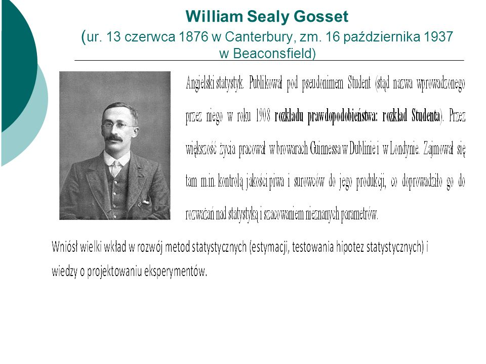 William Sealy Gosset (ur. 13 czerwca 1876 w Canterbury, zm