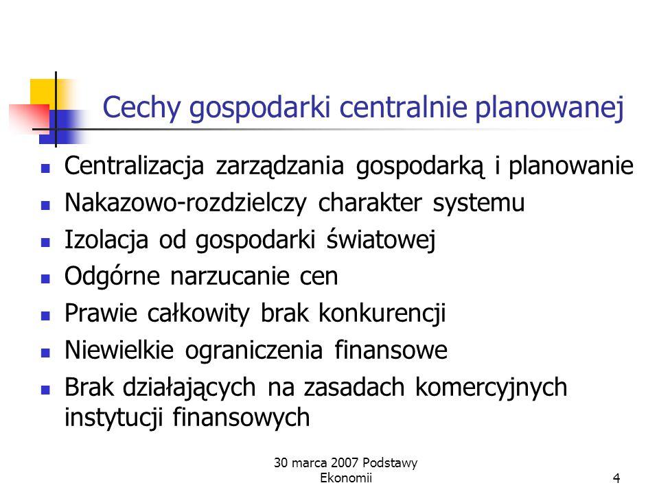 Cechy gospodarki centralnie planowanej