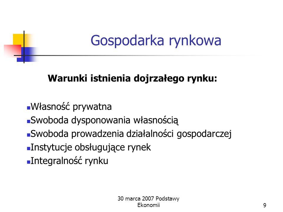 30 marca 2007 Podstawy Ekonomii