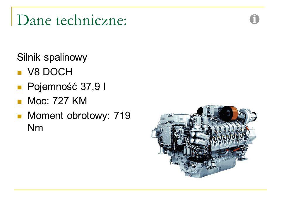 Dane techniczne: Silnik spalinowy V8 DOCH Pojemność 37,9 l Moc: 727 KM