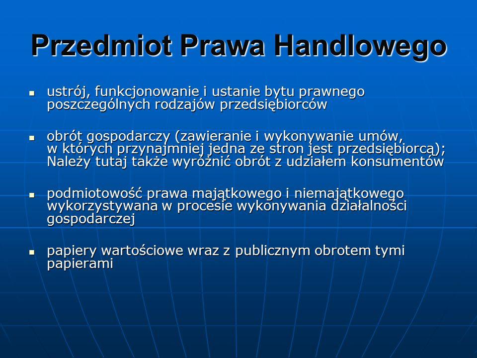 Przedmiot Prawa Handlowego