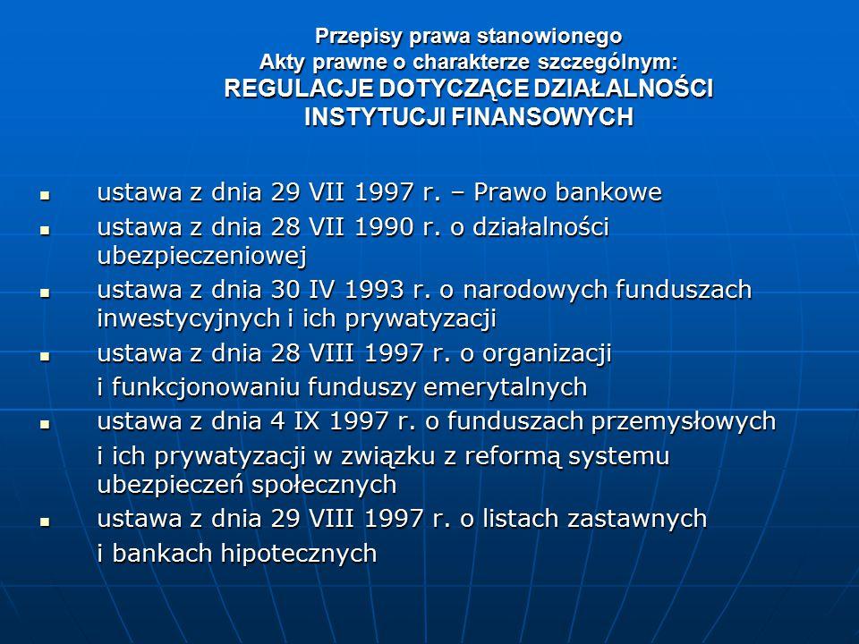 ustawa z dnia 29 VII 1997 r. – Prawo bankowe