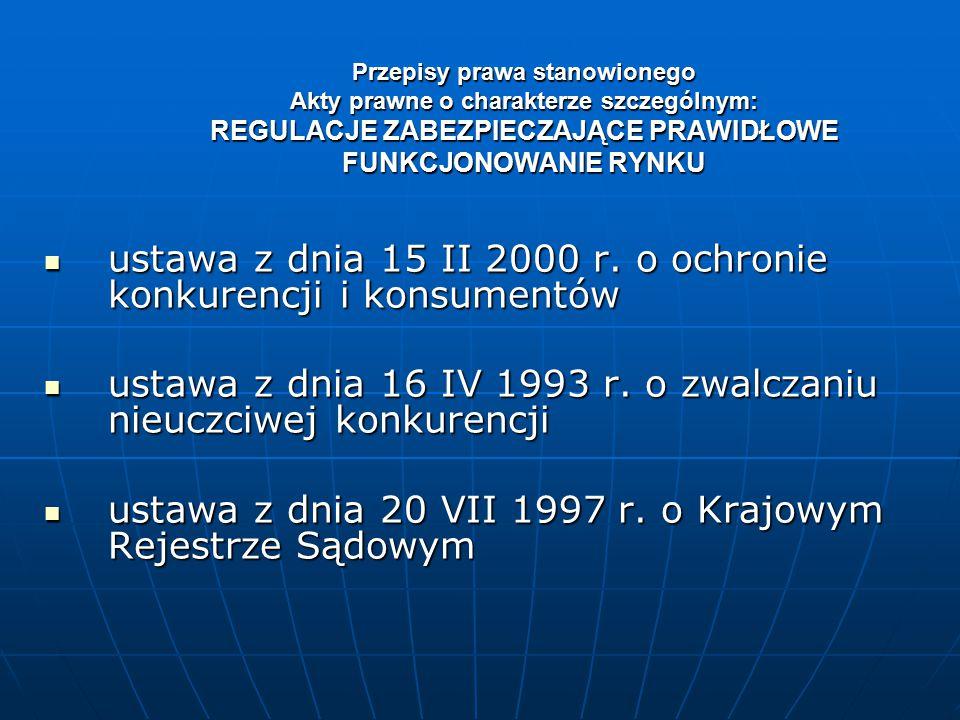 ustawa z dnia 15 II 2000 r. o ochronie konkurencji i konsumentów