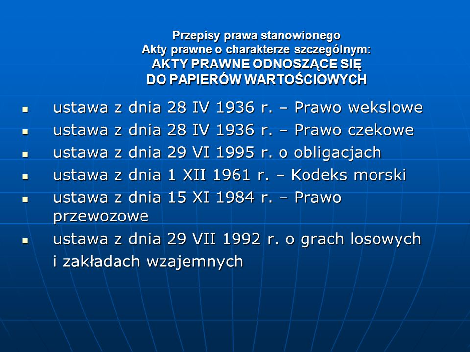 ustawa z dnia 28 IV 1936 r. – Prawo wekslowe