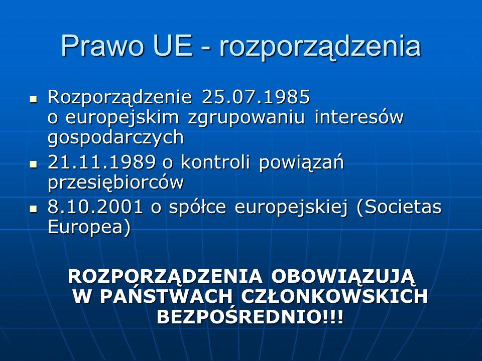 Prawo UE - rozporządzenia
