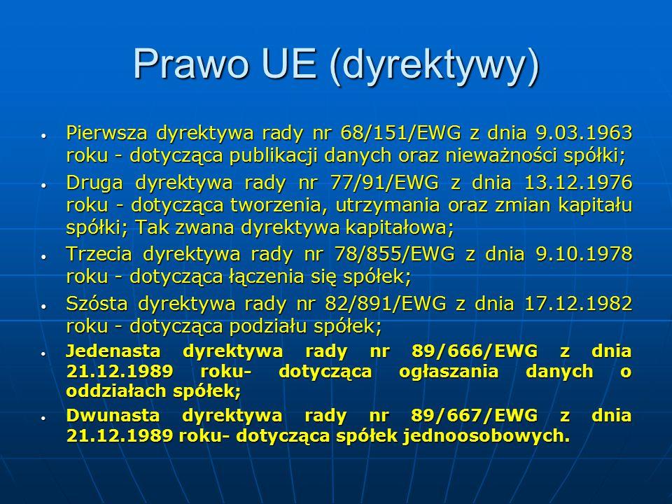 Prawo UE (dyrektywy) Pierwsza dyrektywa rady nr 68/151/EWG z dnia 9.03.1963 roku - dotycząca publikacji danych oraz nieważności spółki;