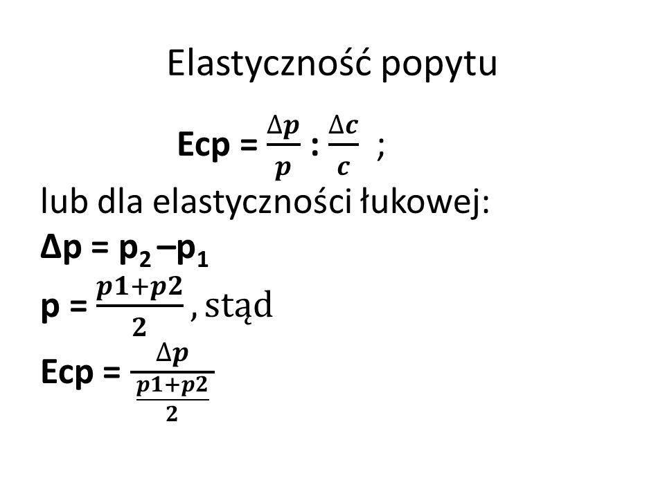 Elastyczność popytu Ecp = ∆𝒑 𝒑 : ∆𝒄 𝒄 ; lub dla elastyczności łukowej: ∆p = p2 –p1 p = 𝒑𝟏+𝒑𝟐 𝟐 , stąd Ecp = ∆𝒑 𝒑𝟏+𝒑𝟐 𝟐