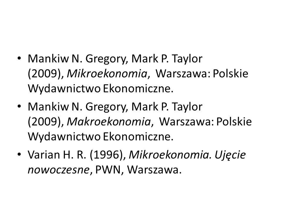 Mankiw N. Gregory, Mark P. Taylor (2009), Mikroekonomia, Warszawa: Polskie Wydawnictwo Ekonomiczne.