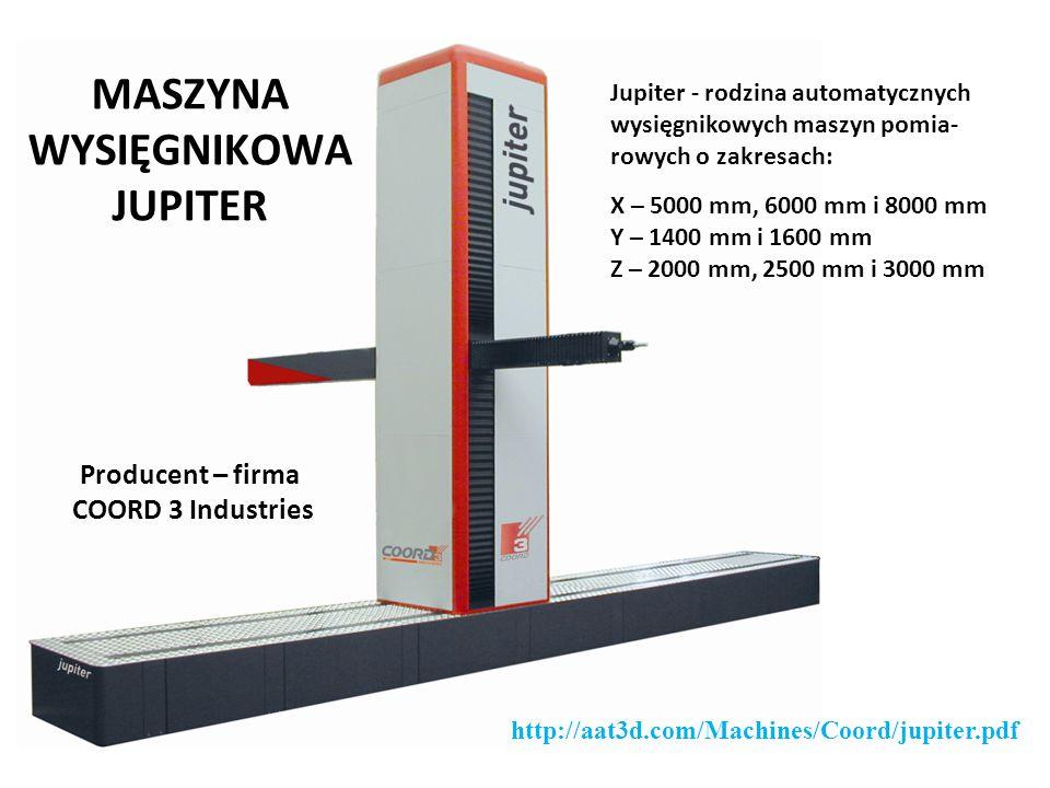 MASZYNA WYSIĘGNIKOWA JUPITER Producent – firma COORD 3 Industries