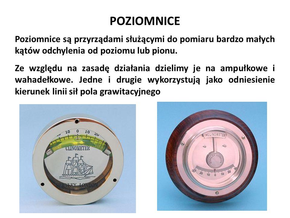 Józef Zawada, PŁ POZIOMNICE. Poziomnice są przyrządami służącymi do pomiaru bardzo małych kątów odchylenia od poziomu lub pionu.