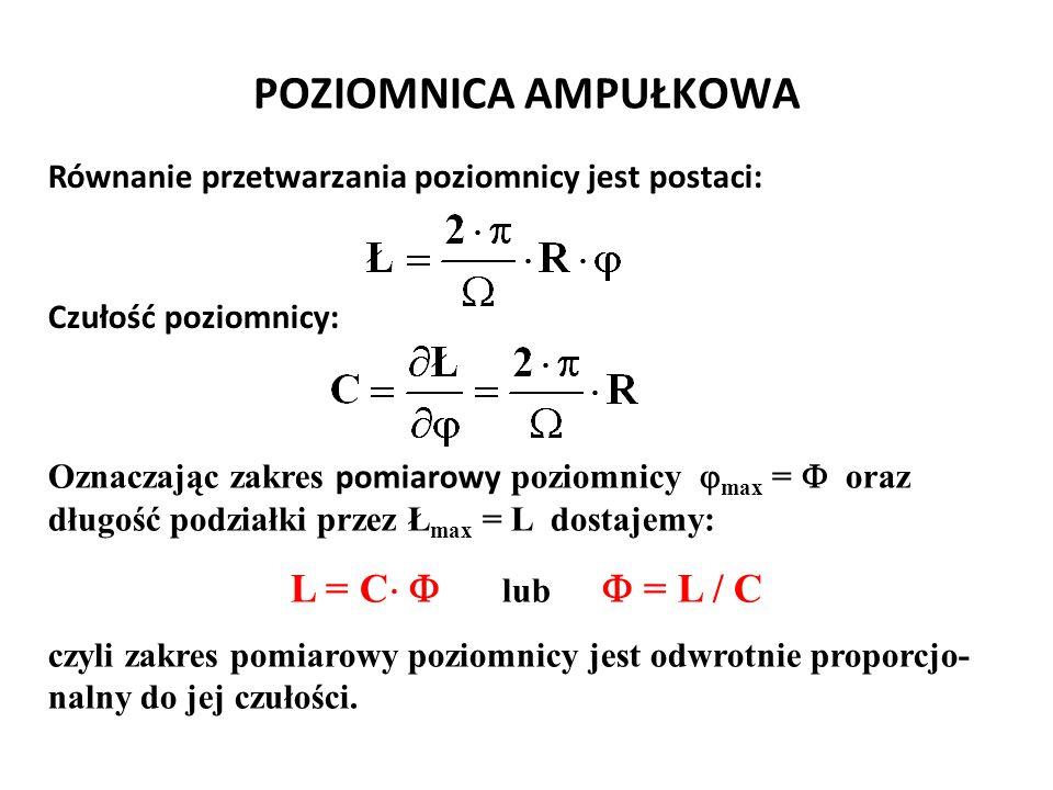 POZIOMNICA AMPUŁKOWA L = C  lub  = L / C