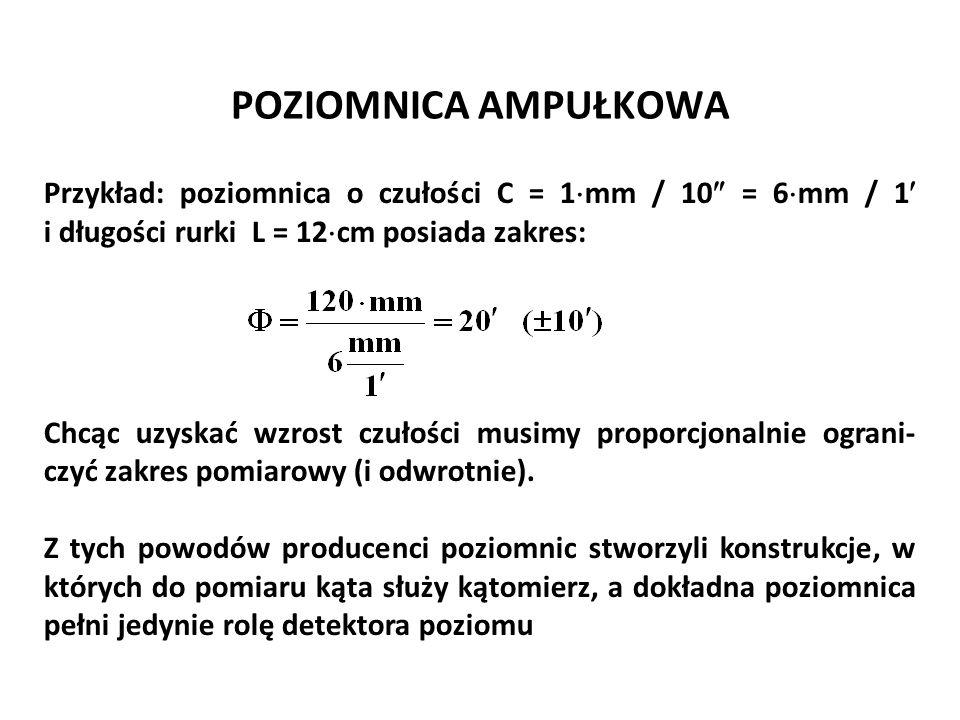 Józef Zawada, PŁ POZIOMNICA AMPUŁKOWA. Przykład: poziomnica o czułości C = 1mm / 10 = 6mm / 1 i długości rurki L = 12cm posiada zakres:
