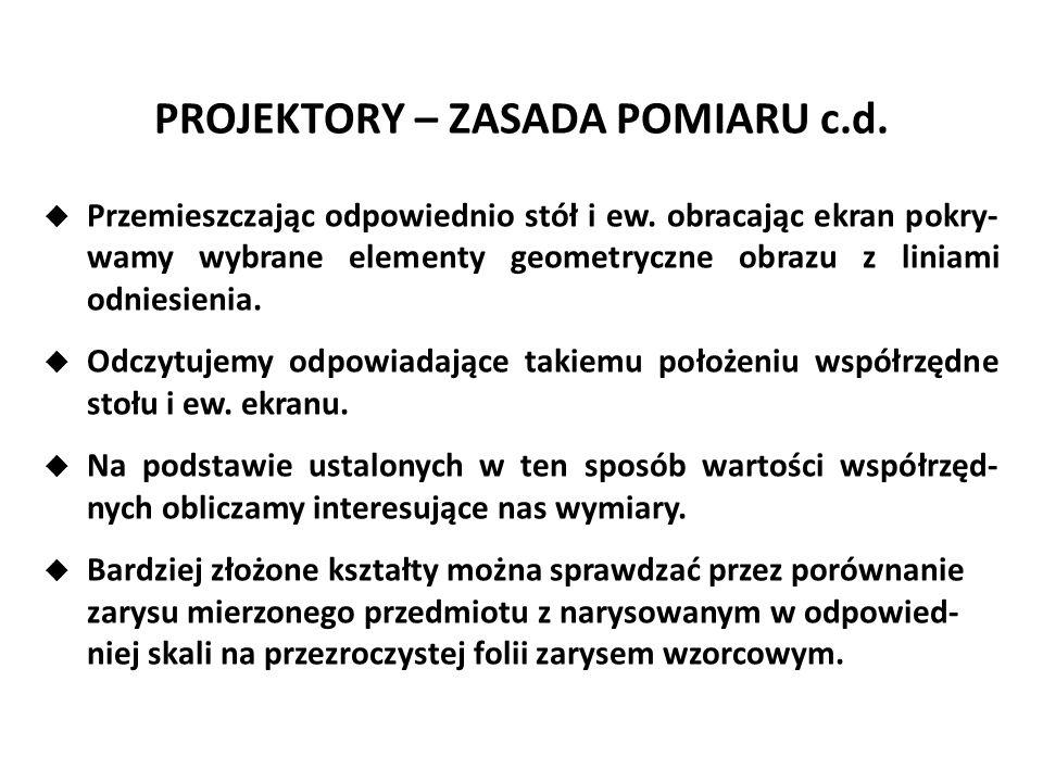 PROJEKTORY – ZASADA POMIARU c.d.