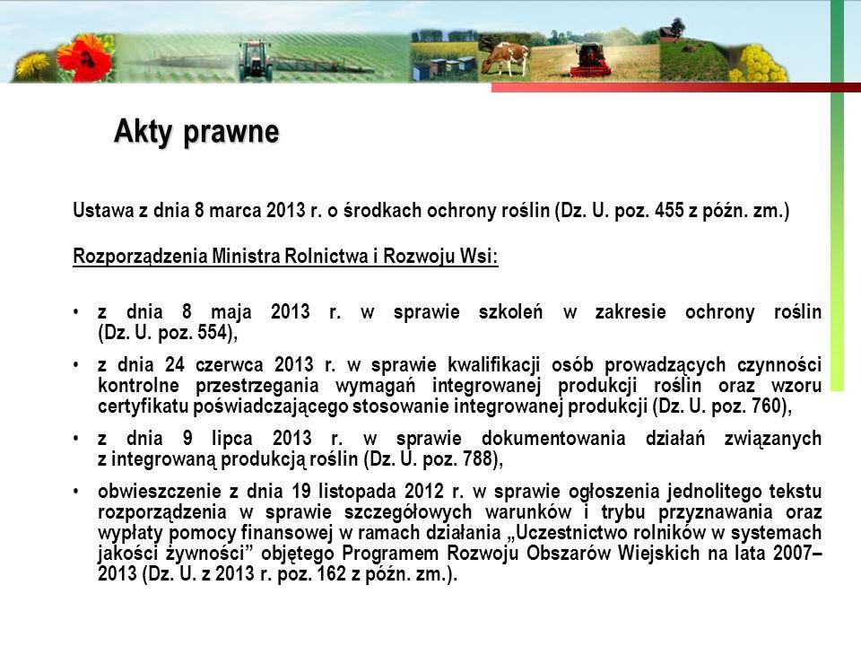 Akty prawne Ustawa z dnia 8 marca 2013 r. o środkach ochrony roślin (Dz. U. poz. 455 z późn. zm.) Rozporządzenia Ministra Rolnictwa i Rozwoju Wsi: