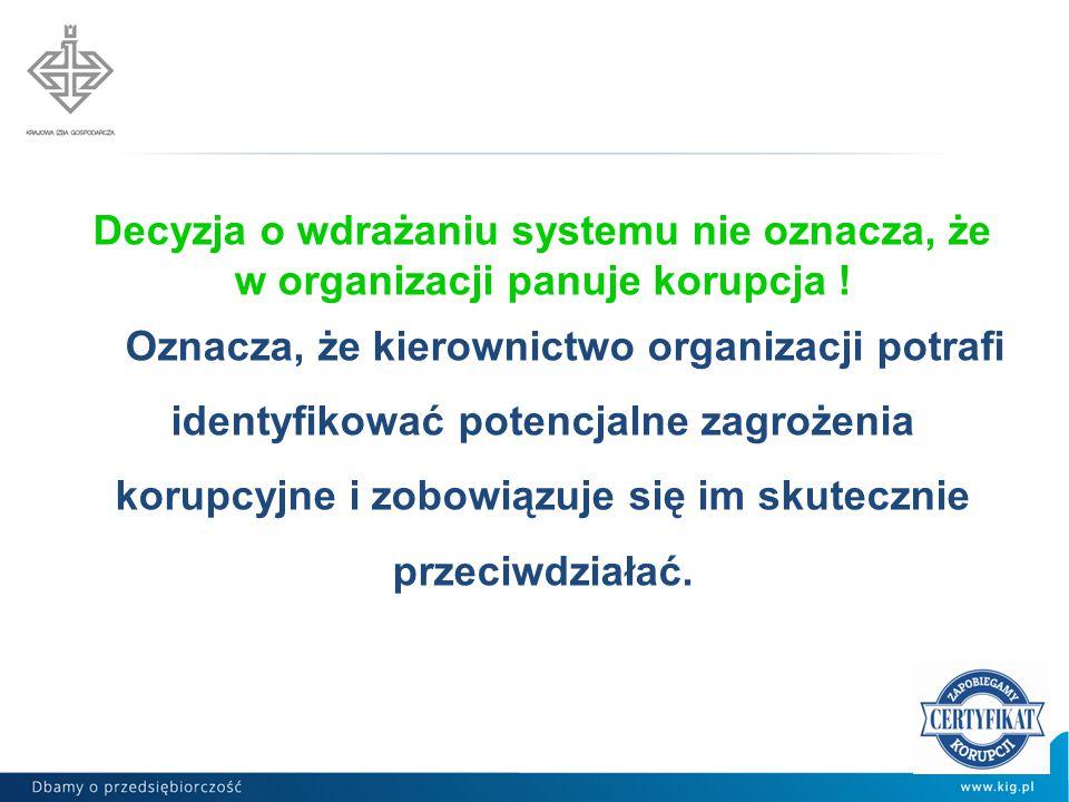 Decyzja o wdrażaniu systemu nie oznacza, że w organizacji panuje korupcja !