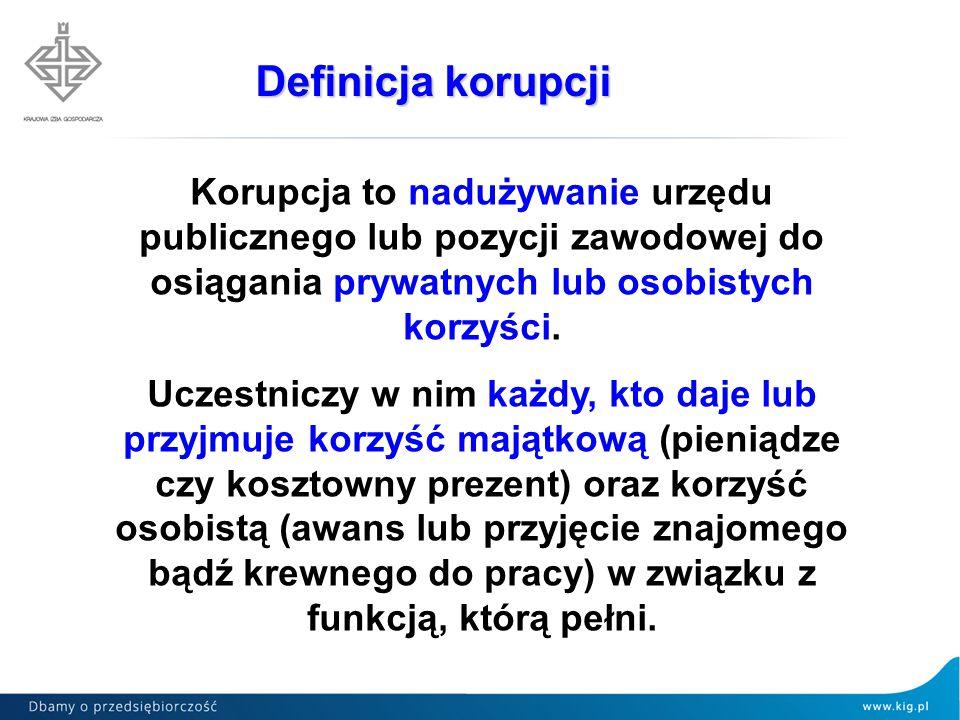 Definicja korupcji Korupcja to nadużywanie urzędu publicznego lub pozycji zawodowej do osiągania prywatnych lub osobistych korzyści.