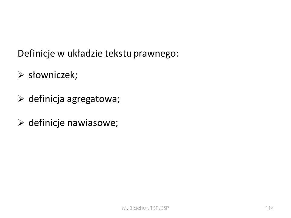 Definicje w układzie tekstu prawnego: słowniczek;