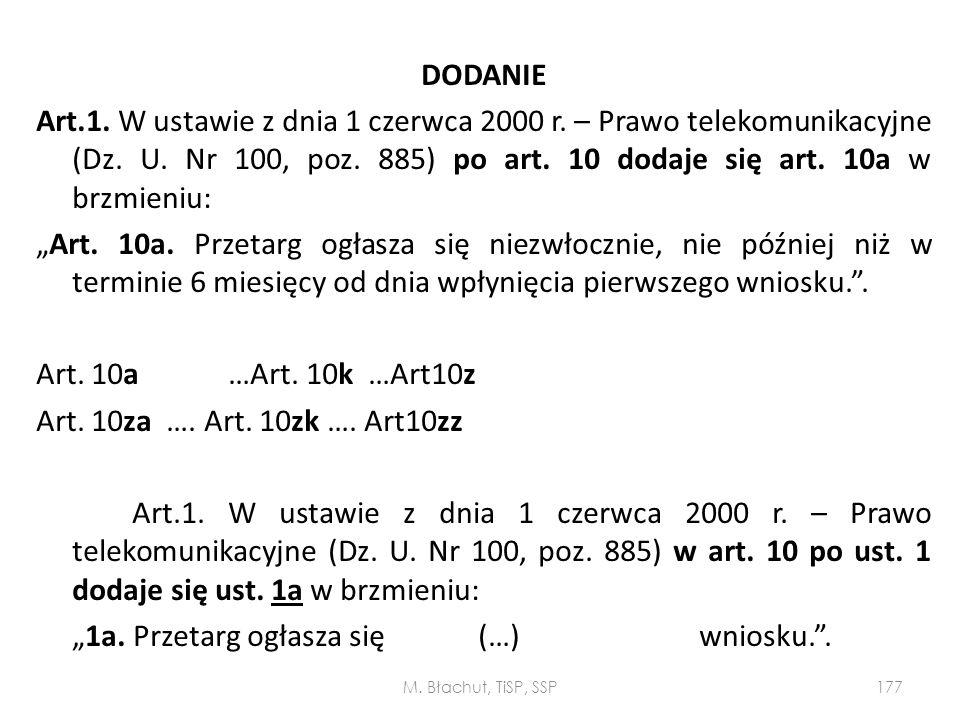 DODANIE Art. 1. W ustawie z dnia 1 czerwca 2000 r