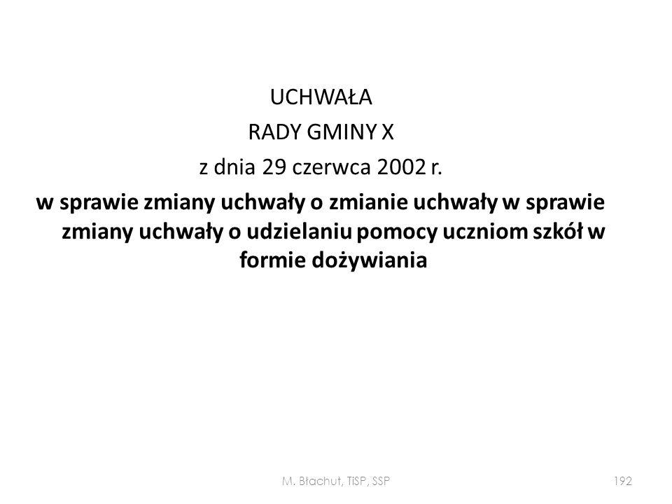 UCHWAŁA RADY GMINY X z dnia 29 czerwca 2002 r