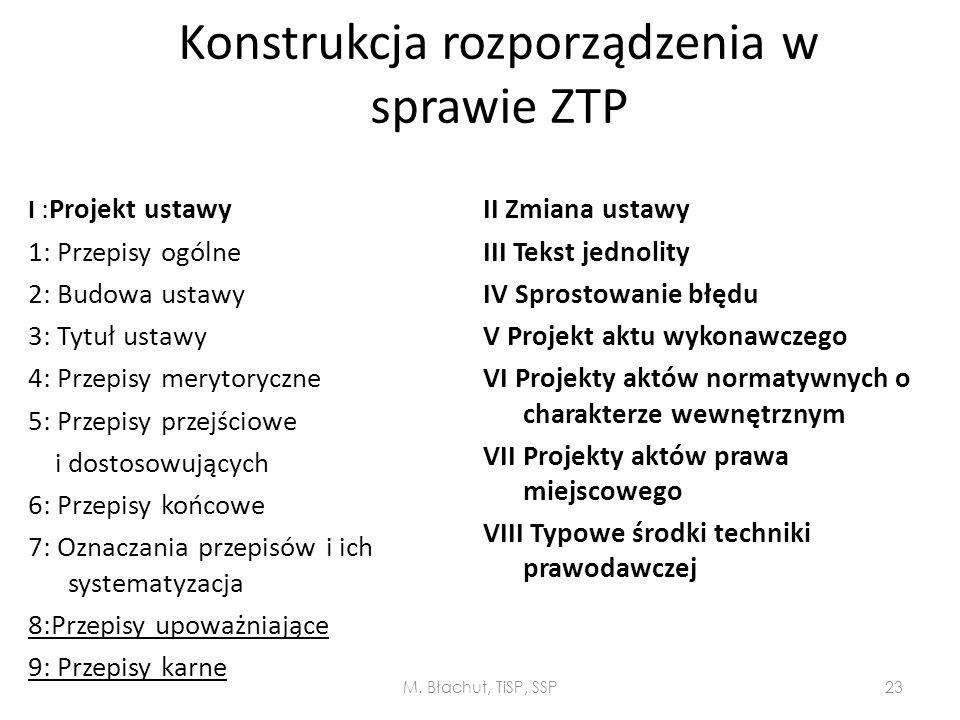 Konstrukcja rozporządzenia w sprawie ZTP
