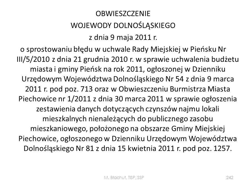 OBWIESZCZENIE WOJEWODY DOLNOŚLĄSKIEGO z dnia 9 maja 2011 r