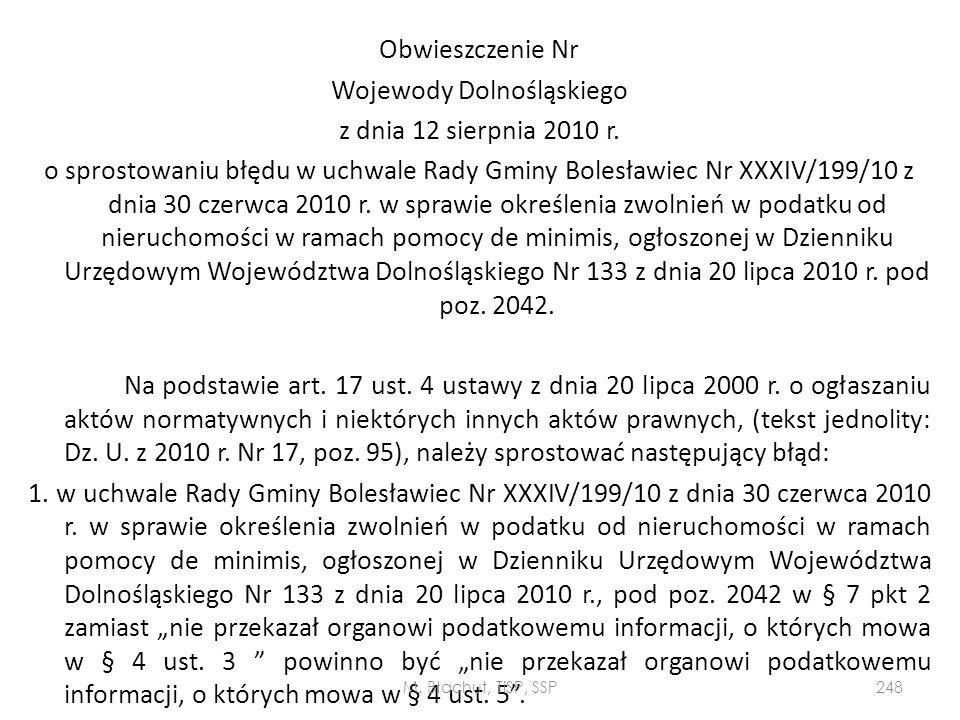 Obwieszczenie Nr Wojewody Dolnośląskiego z dnia 12 sierpnia 2010 r