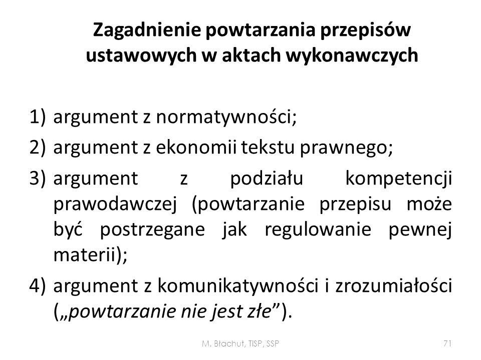 Zagadnienie powtarzania przepisów ustawowych w aktach wykonawczych