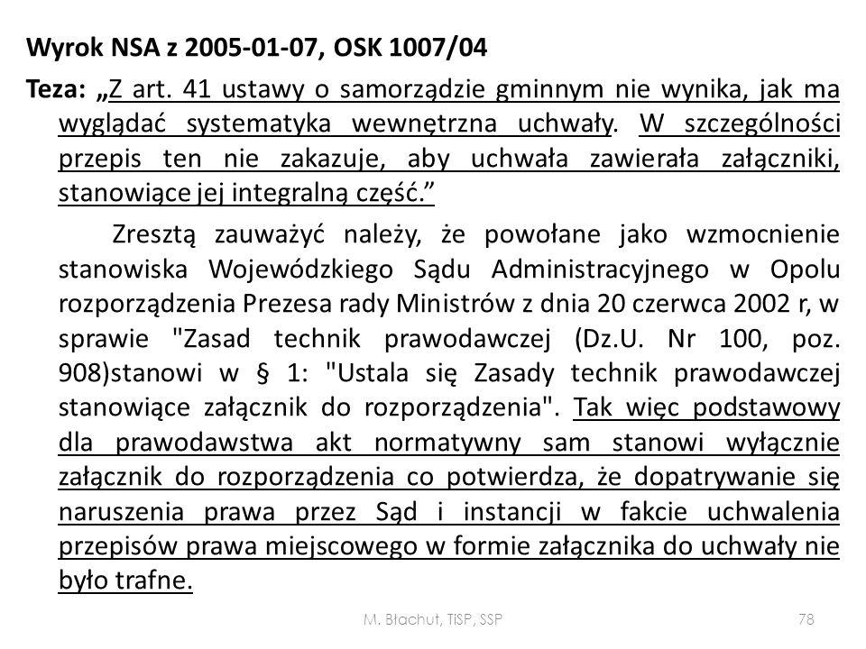 "Wyrok NSA z 2005-01-07, OSK 1007/04 Teza: ""Z art"