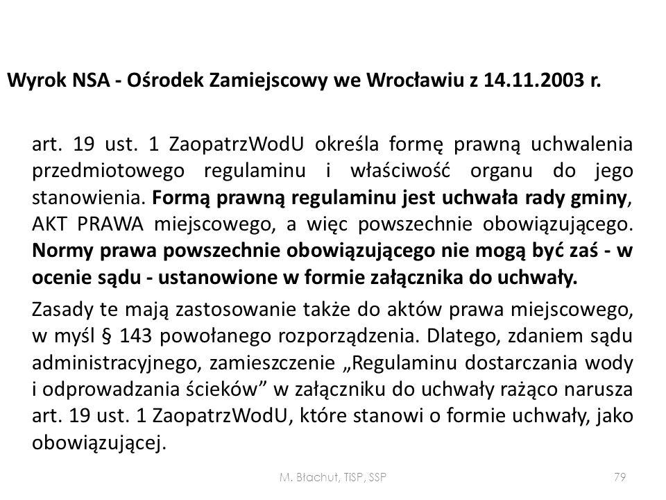 Wyrok NSA - Ośrodek Zamiejscowy we Wrocławiu z 14. 11. 2003 r. art