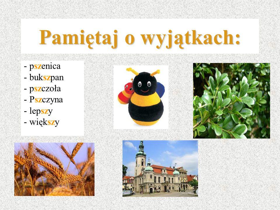 Pamiętaj o wyjątkach: - pszenica - bukszpan - pszczoła - Pszczyna