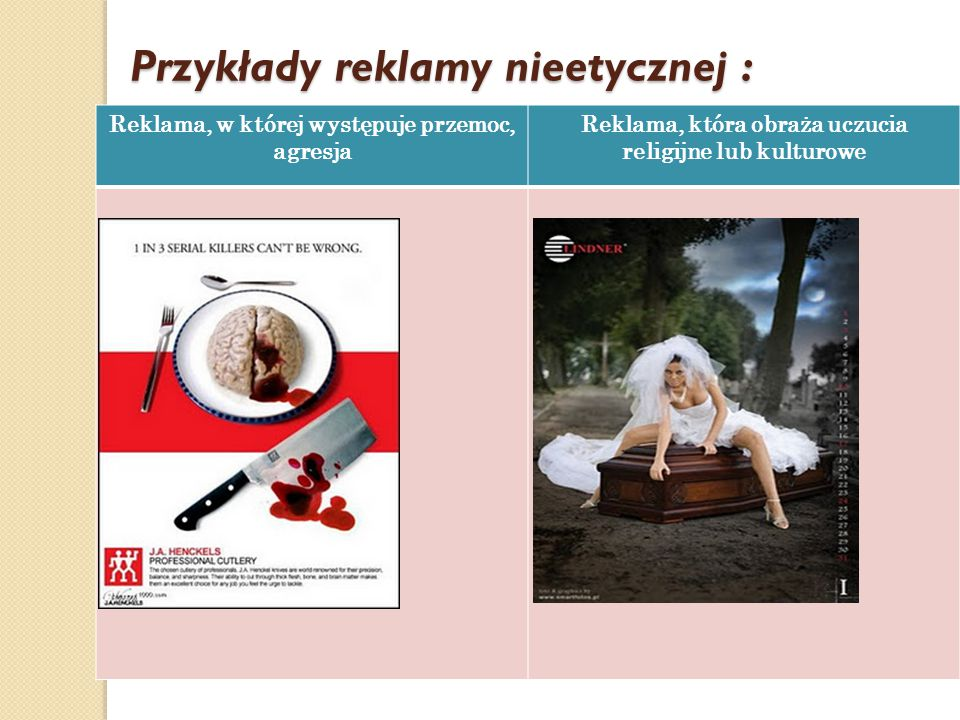 Przykłady reklamy nieetycznej :
