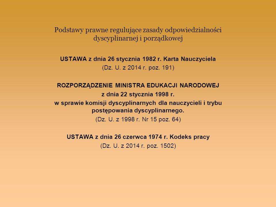 Podstawy prawne regulujące zasady odpowiedzialności dyscyplinarnej i porządkowej