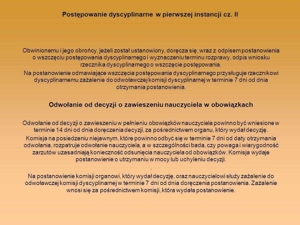 Postępowanie dyscyplinarne w pierwszej instancji cz. II