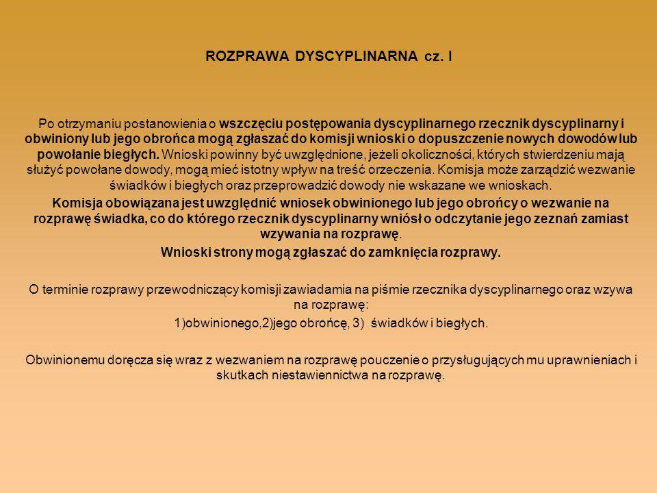 ROZPRAWA DYSCYPLINARNA cz. I