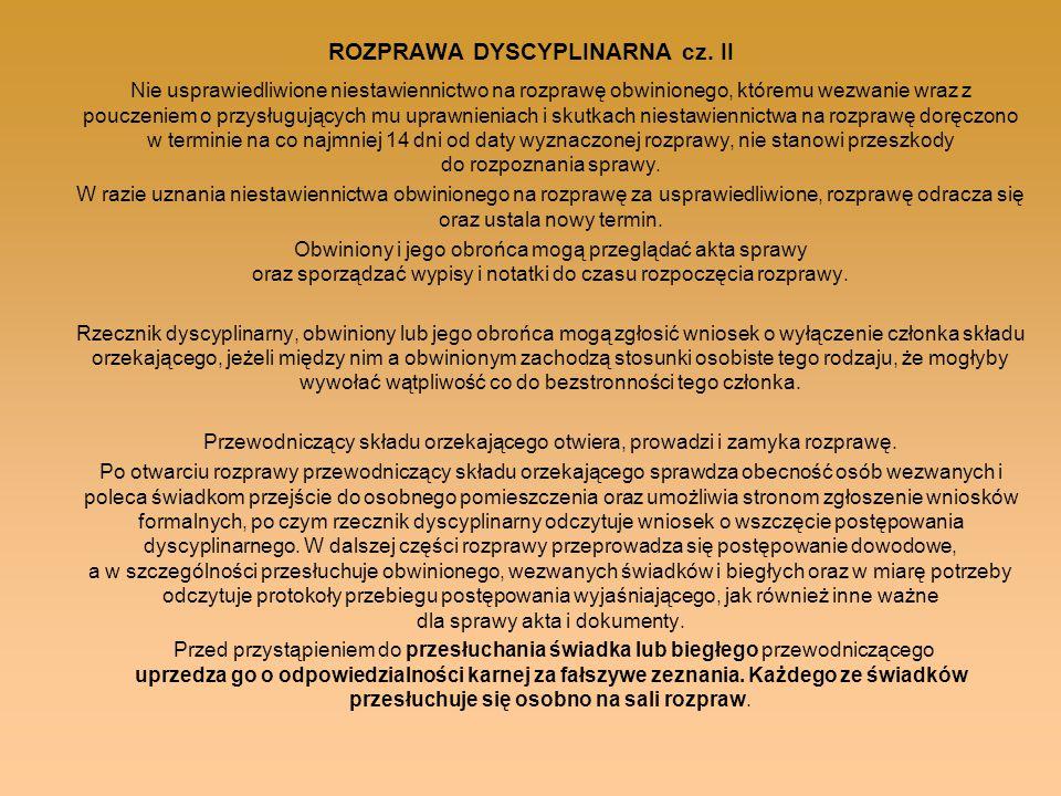 ROZPRAWA DYSCYPLINARNA cz. II