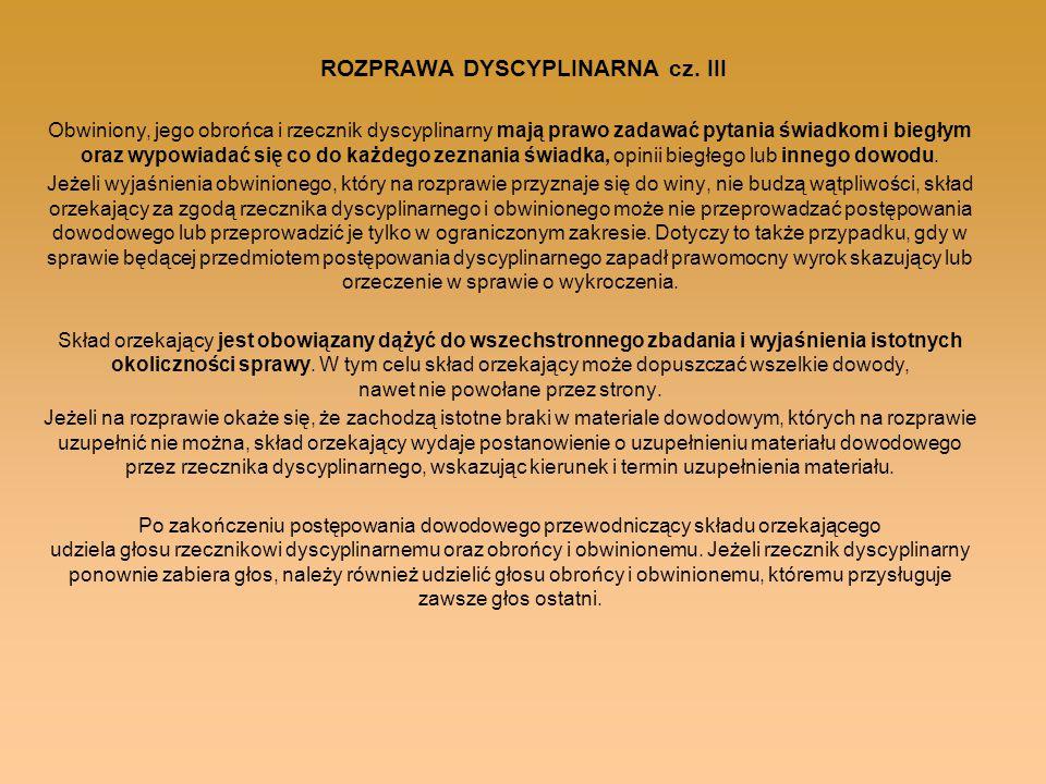 ROZPRAWA DYSCYPLINARNA cz. III