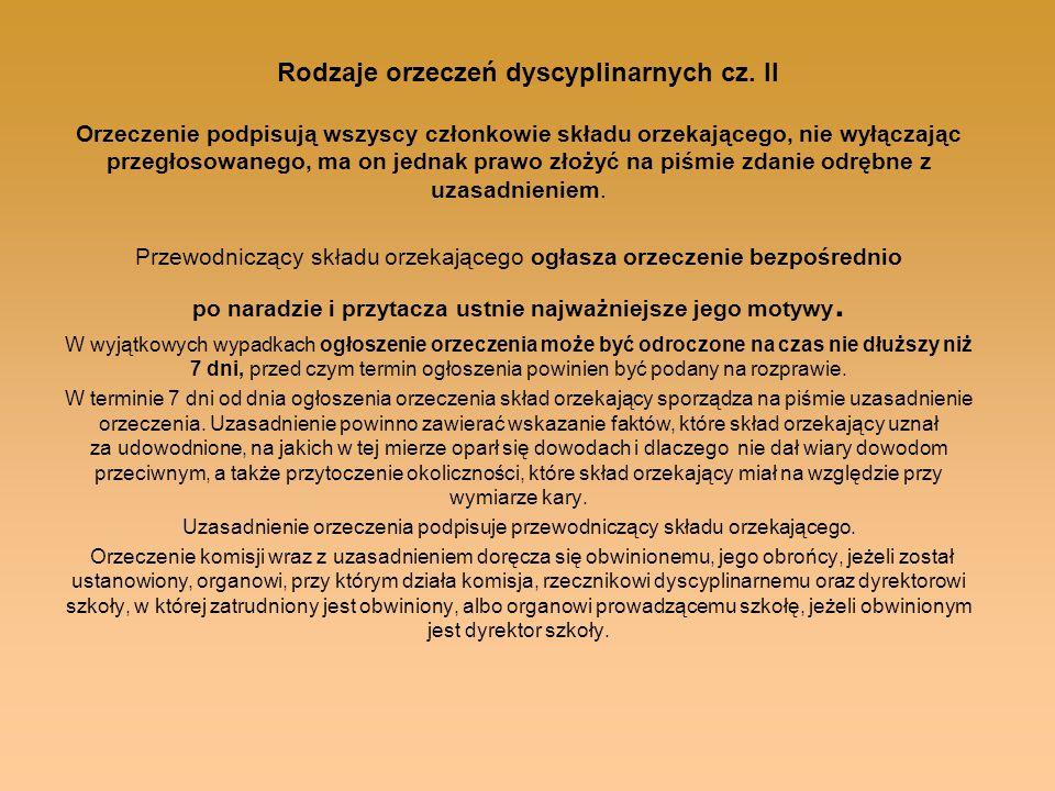 Rodzaje orzeczeń dyscyplinarnych cz. II