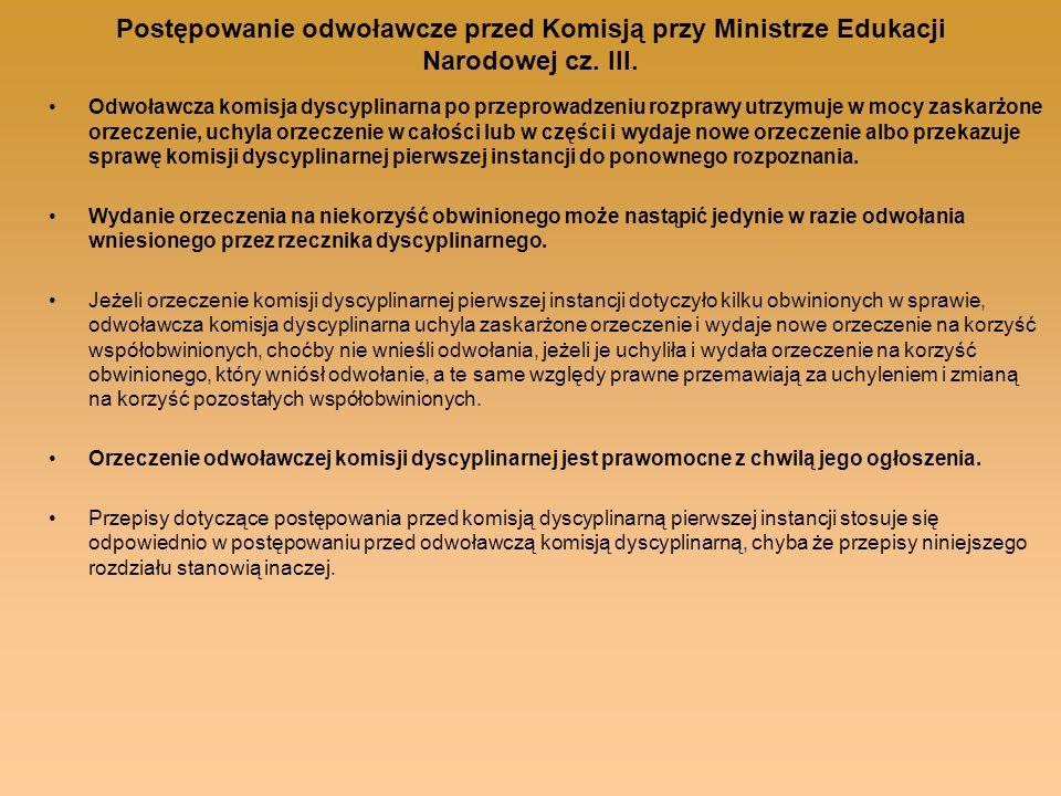 Postępowanie odwoławcze przed Komisją przy Ministrze Edukacji Narodowej cz. III.