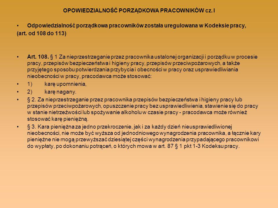 OPOWIEDZIALNOŚĆ PORZĄDKOWA PRACOWNIKÓW cz. I