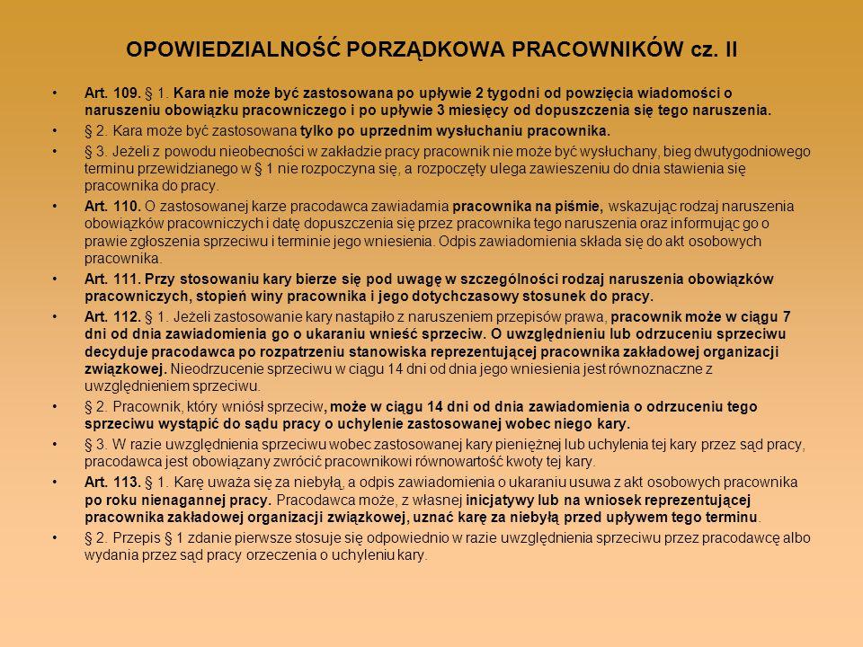 OPOWIEDZIALNOŚĆ PORZĄDKOWA PRACOWNIKÓW cz. II