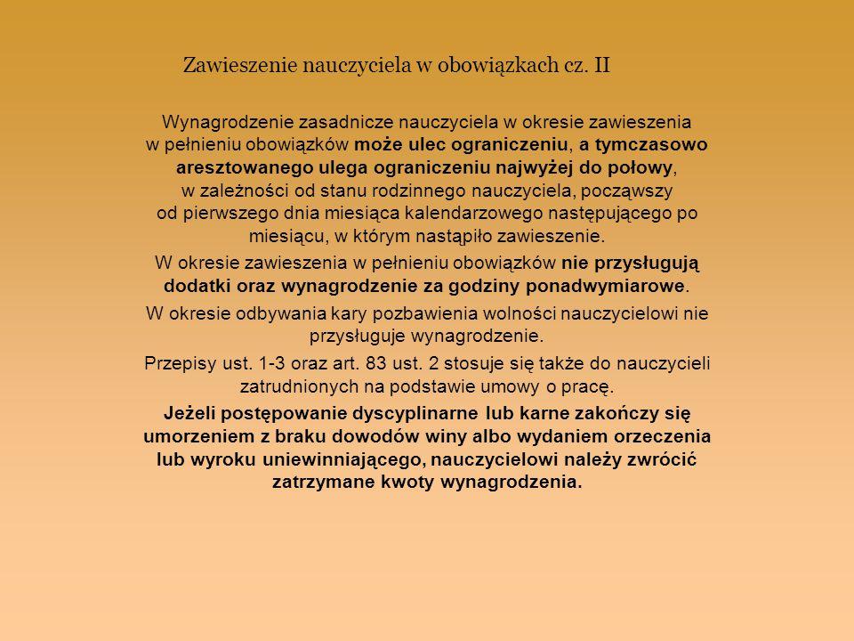 Zawieszenie nauczyciela w obowiązkach cz. II