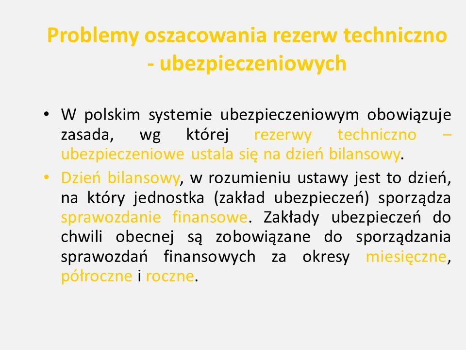 Problemy oszacowania rezerw techniczno - ubezpieczeniowych