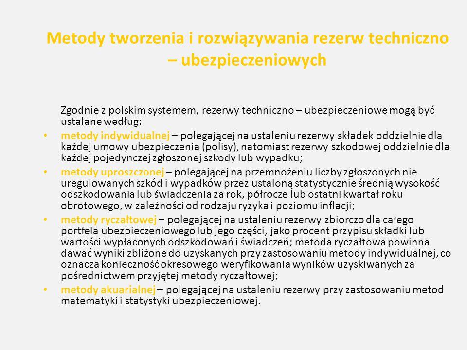 Metody tworzenia i rozwiązywania rezerw techniczno – ubezpieczeniowych