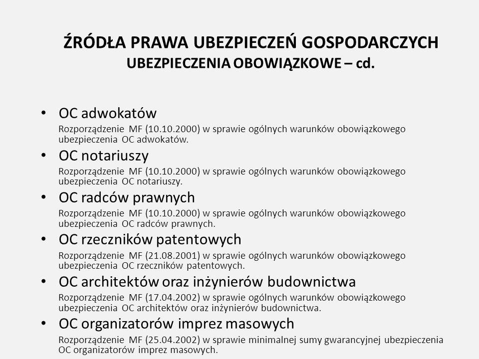 ŹRÓDŁA PRAWA UBEZPIECZEŃ GOSPODARCZYCH UBEZPIECZENIA OBOWIĄZKOWE – cd.