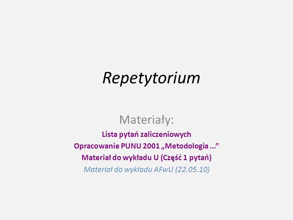 Repetytorium Materiały: Lista pytań zaliczeniowych