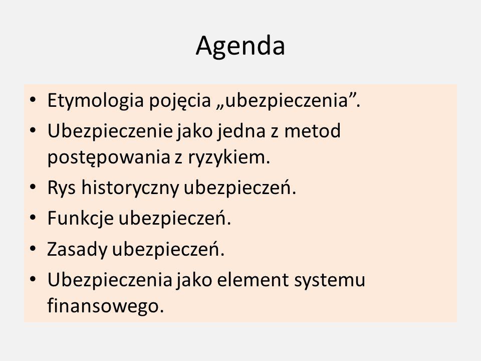 """Agenda Etymologia pojęcia """"ubezpieczenia ."""